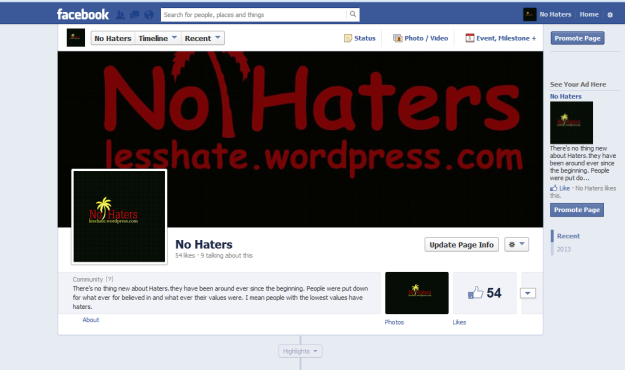 No Haters on Facebook